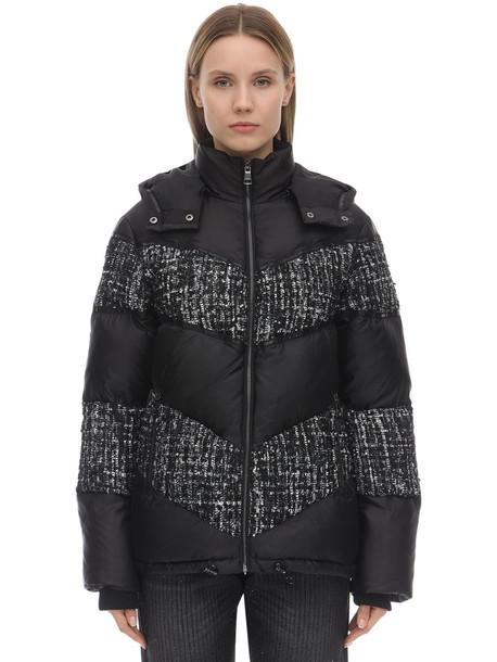 KARL LAGERFELD Bouclé & Nylon Puffer Jacket in black