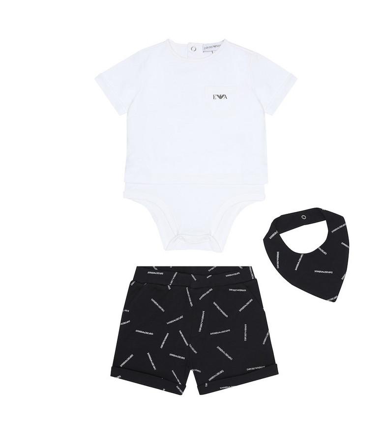 Emporio Armani Kids Cotton bodysuit, shorts and bib set in white