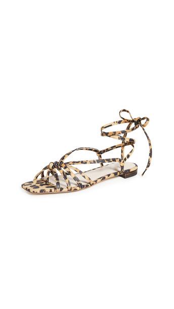 Loeffler Randall Lorelai Wrap Sandals in leopard