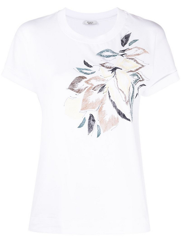 Peserico floral-print T-shirt in white