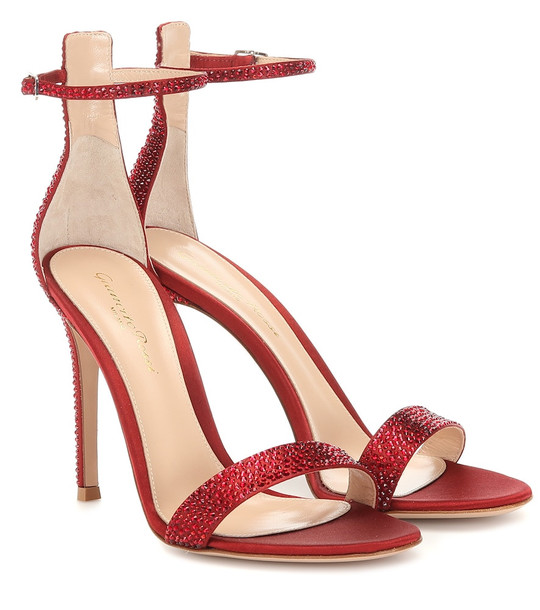 Gianvito Rossi Glam embellished satin sandals in red