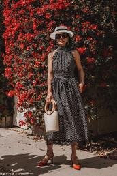 hallie daily,blogger,dress,hat,shoes,bag,sunglasses,jewels,skirt,polka dots dress,polka dots,midi dress,black dress,spring outfits,slingbacks
