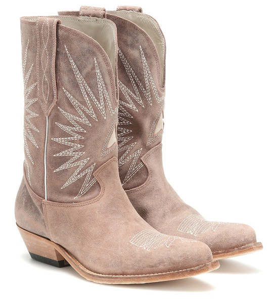 Golden Goose Wish Star leather cowboy boots in beige