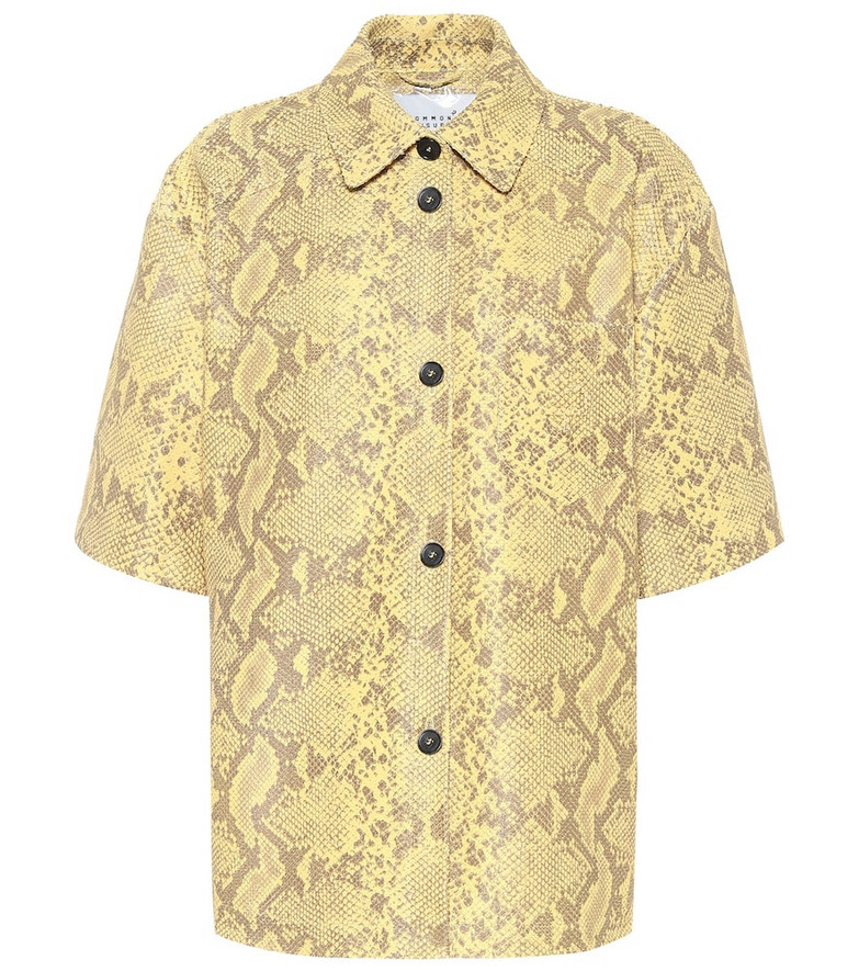 Common Leisure Snake-effect leather shirt in yellow