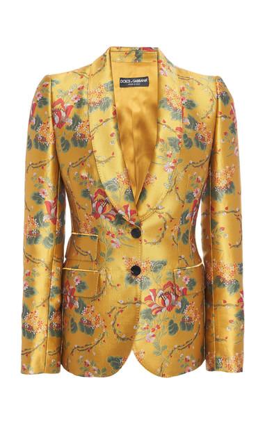 Dolce & Gabbana Floral-Print Satin-Jacquard Blazer in yellow