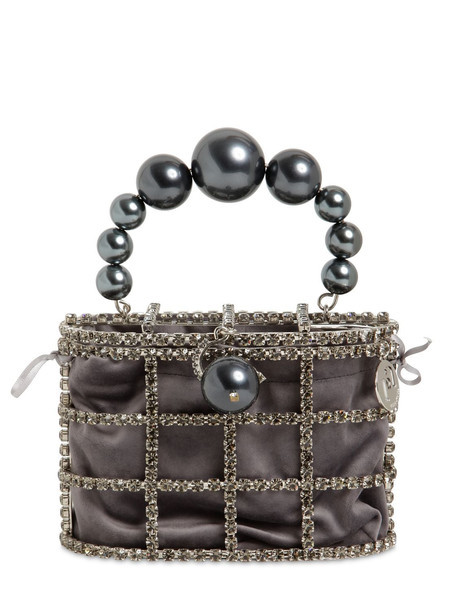 ROSANTICA Holli Crystal & Pearl Box Bag in grey