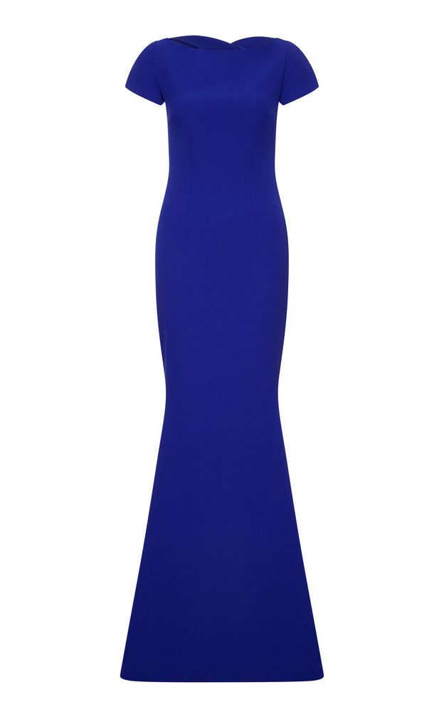 Safiyaa Oaklyn Fit-And-Flare Heavy Crepe Dress in blue