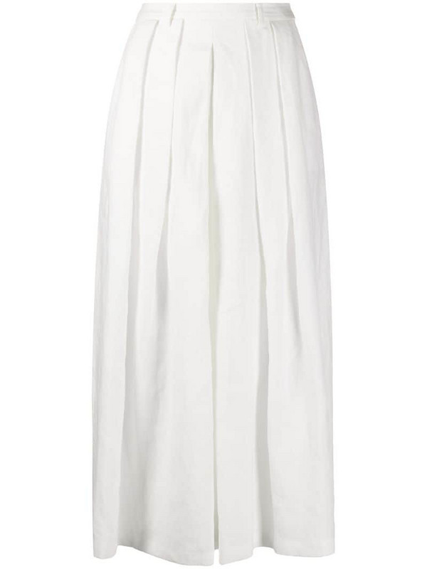 Ralph Lauren Collection cropped wide-leg trousers in white