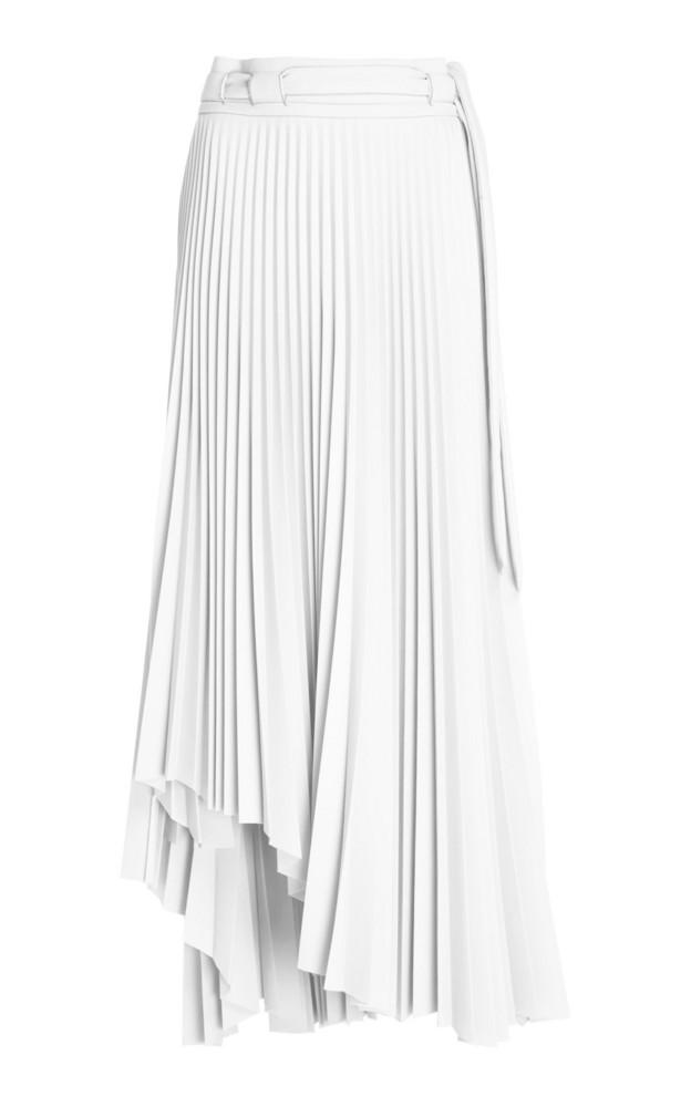 A.W.A.K.E. A.W.A.K.E. Pleated Asymmetric Midi Skirt in white