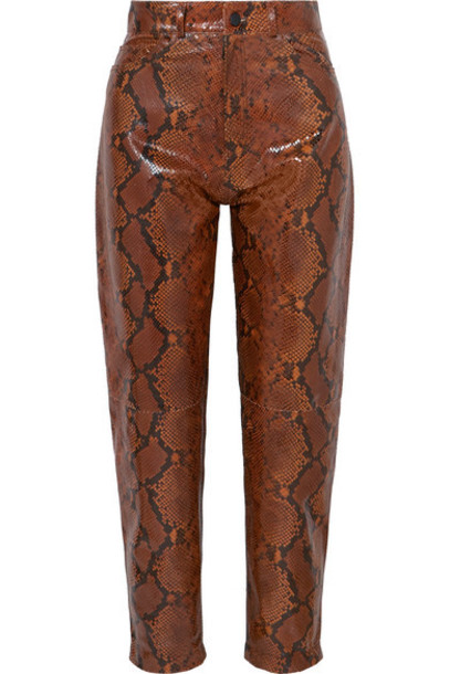 Attico - Snake-effect Leather Tapered Pants - Brown
