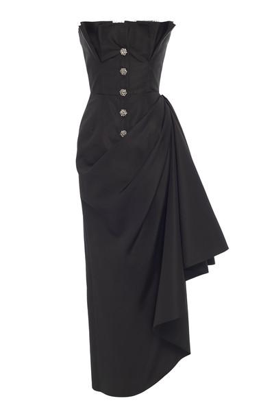 Khyeli Silk Trench Dress in black