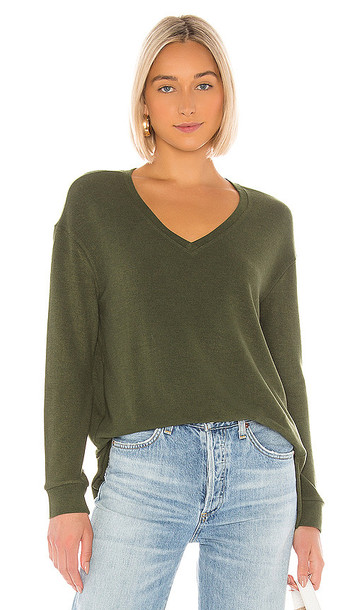 cupcakes and cashmere Gazella V-Neck Sweater in Dark Green