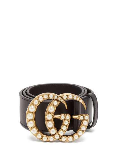 Gucci - Gg Faux Pearl Embellished Leather Belt - Womens - Black