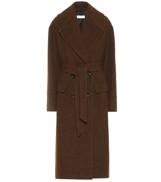 Dries Van Noten Alpaca and wool twill coat in brown