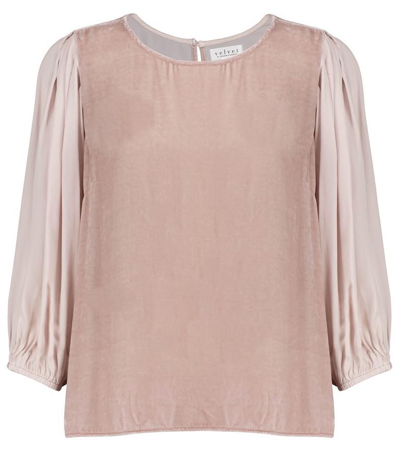 Elise velvet and silk blouse in pink