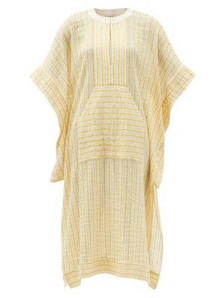 Zeus + Dione Zeus + Dione - Calyx Striped Cotton-blend Midi Kaftan Dress - Womens - Yellow