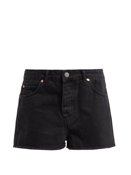 Raey - Hawaii Black Raw Cut Denim Shorts - Womens - Black