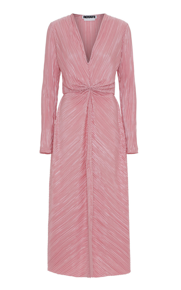 ROTATE Fitted Midi Dress in pink