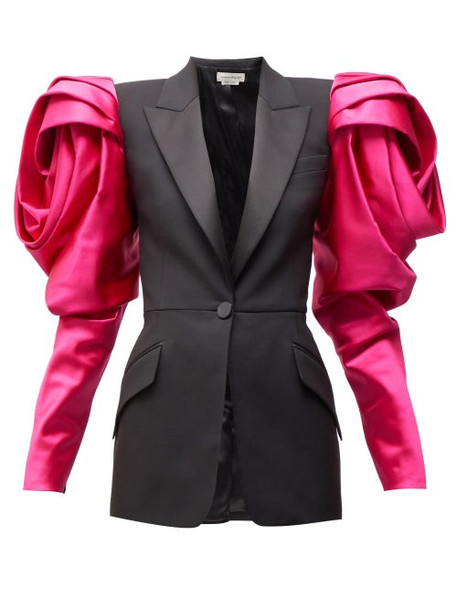 Alexander Mcqueen - Satin-sleeve Single-breasted Wool Blazer - Womens - Black