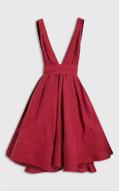 Brock Collection Quesyn Bow-Detailed Linen Midi Dress in burgundy