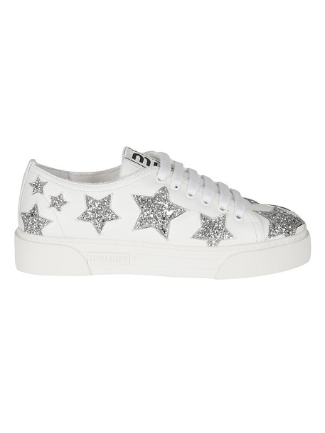Miu Miu Star Detailed Sneakers in silver / white