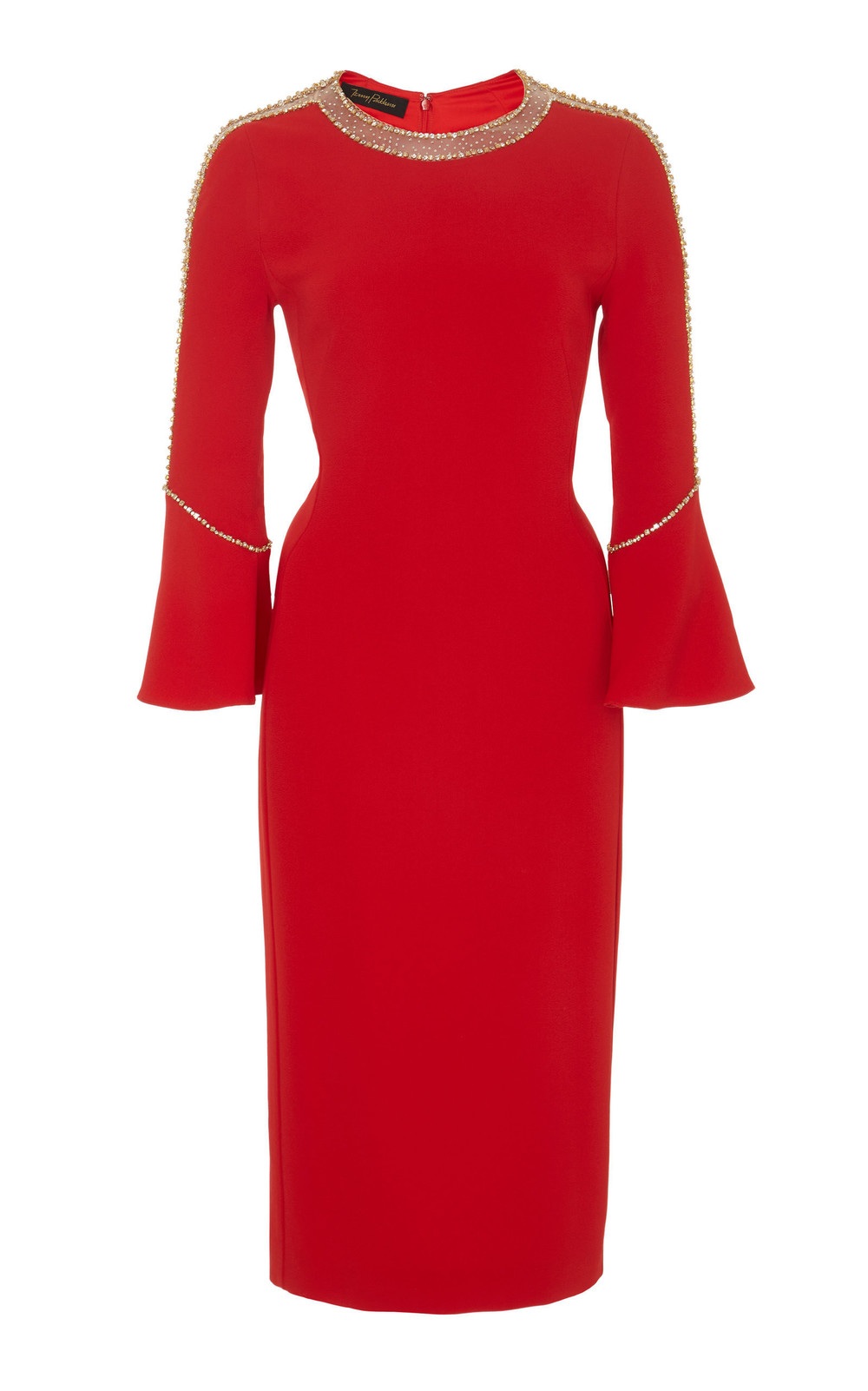 Jenny Packham Debo Embellished Knee Length Crepe Dress in red