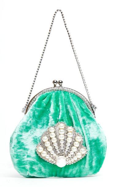 Mach & Mach Velvet Oval Shell Handbag in green