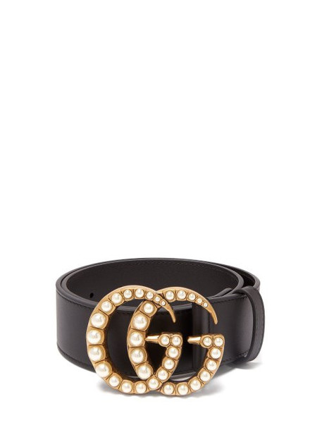 Gucci - Pearl Embellished Gg Logo 4cm Leather Belt - Womens - Black