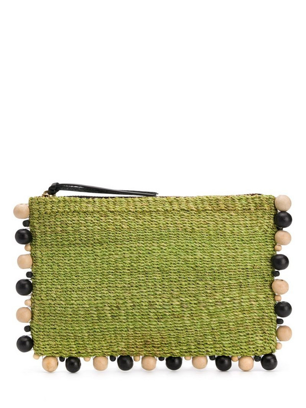 Aranaz bead embellished clutch bag in green