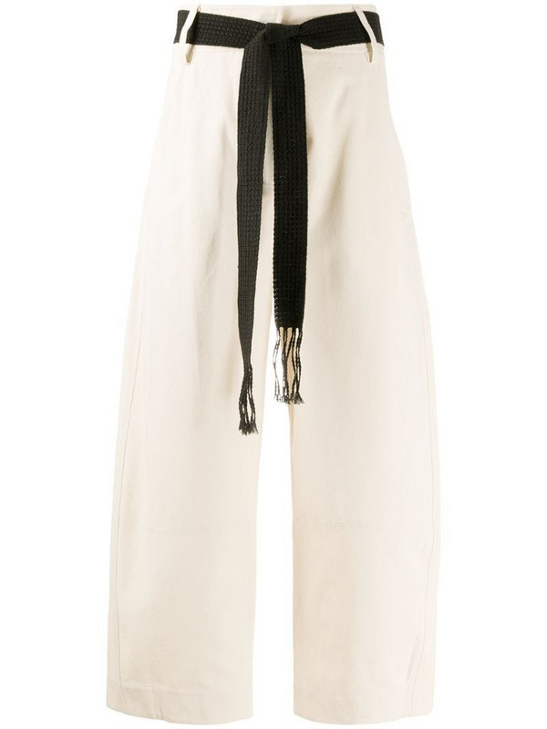 Alysi embroidered straight-leg trousers in white