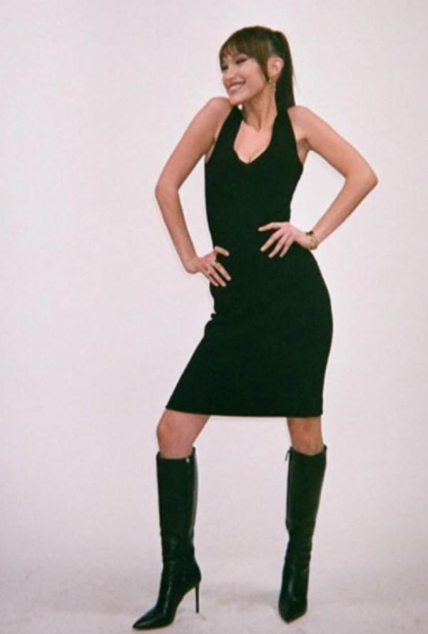 dress black bodycon bella hadid little black dress midi