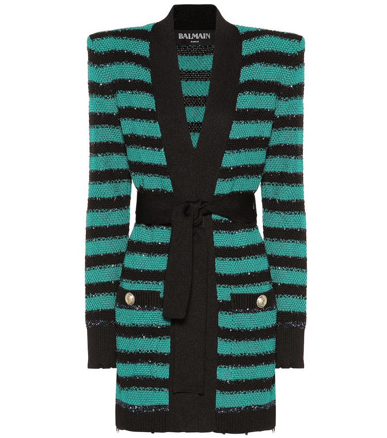 Balmain Embellished striped cardigan in green