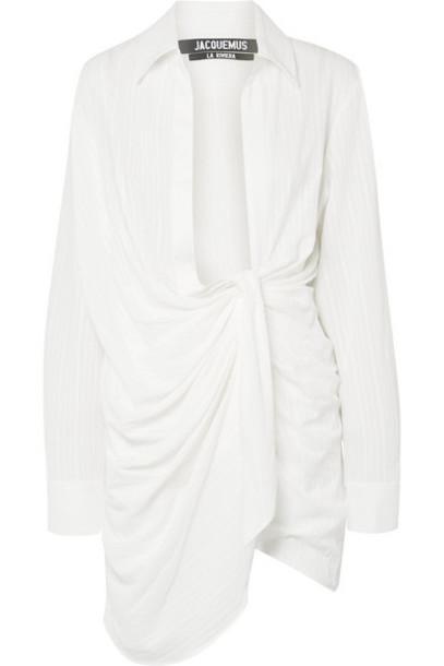 Jacquemus - Bahia Draped Embroidered Cotton-blend Mini Dress - Off-white