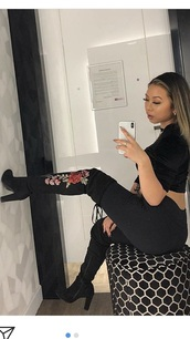 shoes,black thigh boots,embroidered rose