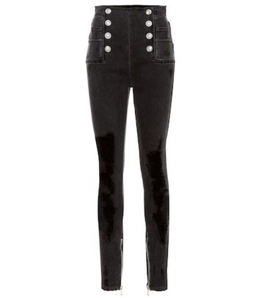 Balmain High-rise skinny jeans in black