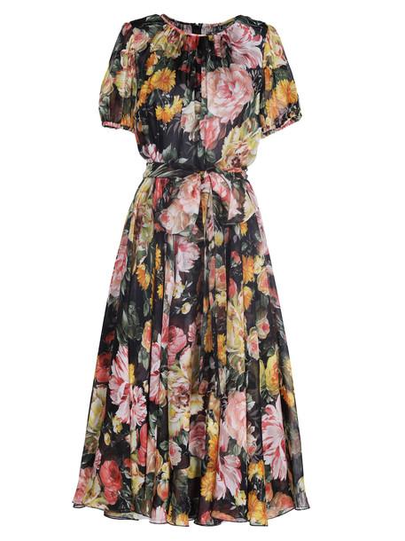 Dolce & Gabbana Floral Flared Dress in black