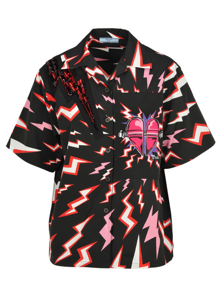 Prada Short Sleeves Printed Shirt in black / print