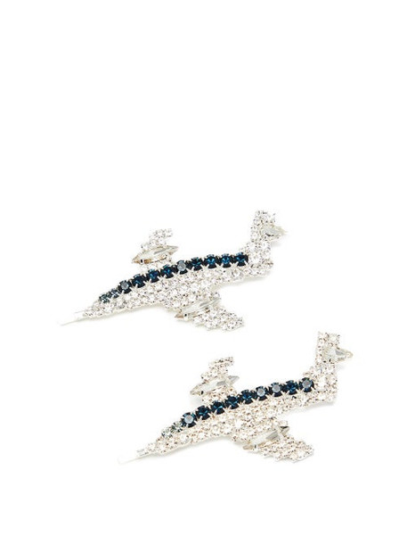 Art School - Aeroplane Crystal-embellished Hair Slides - Womens - Blue