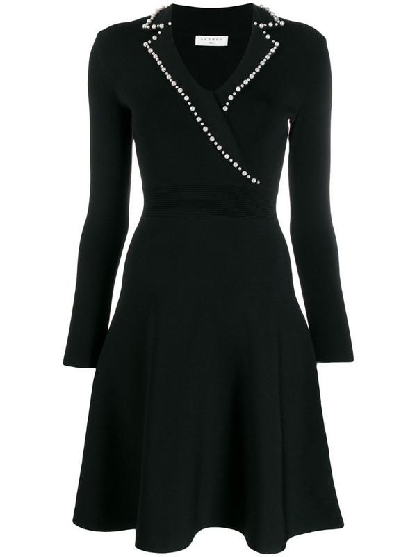 Sandro Paris faux-pearl trim dress in black