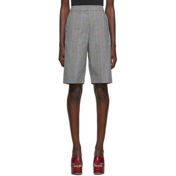 Pushbutton Grey Corseted Back Bermuda Shorts