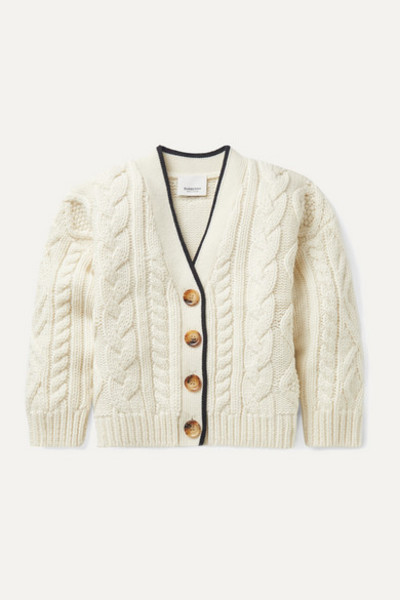 Burberry Kids - Ages 3 - 12 Jacquard-trimmed Cable-knit Wool And Cashmere-blend Cardigan in ivory