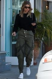 pants,camouflage,camo pants,sofia richie,celebrity,top,black,black top