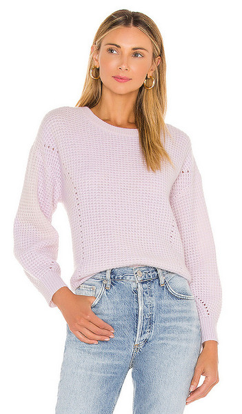 White + Warren White + Warren Luxe Thermal Sweater in Blush