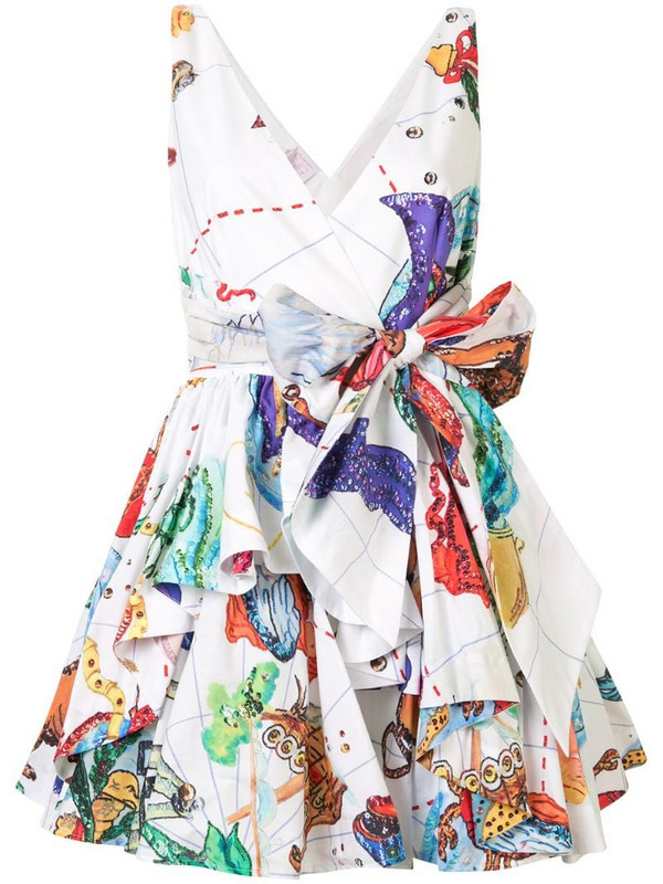 Stella Jean tie-waist printed mini dress in white