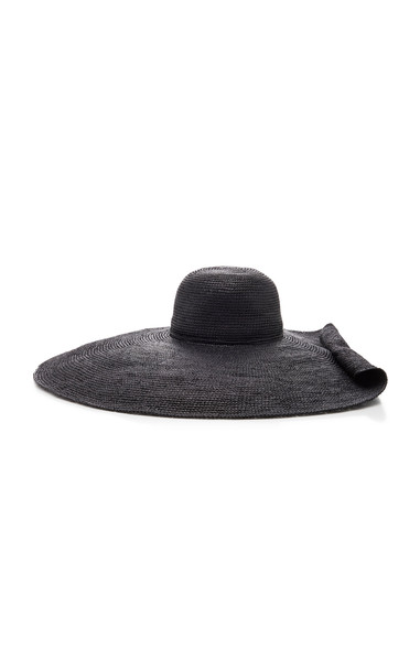 Sensi Studio Oversized Embellished Straw Hat Size: M in black