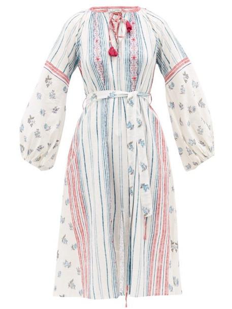 D'ascoli - Amangansett Belted Floral-print Cotton Dress - Womens - Blue Print