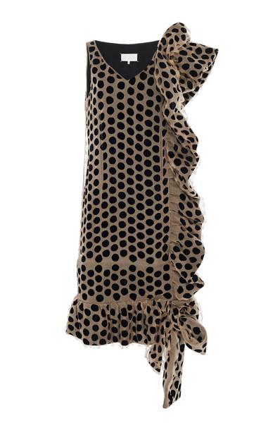 Maison Margiela Embellished Polka-Dot Silk Dress Size: 36 in print