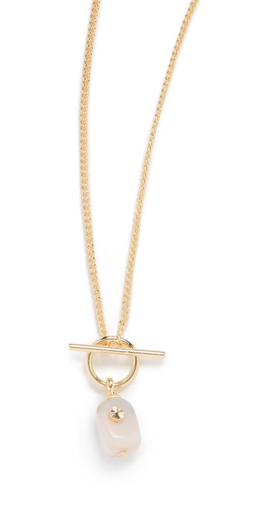 Gorjana Alice Gem Toggle Necklace in gold / pink