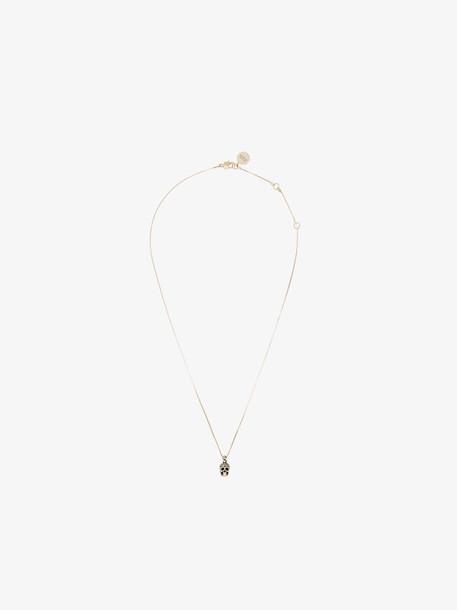 Alexander McQueen Gold-Plated Embellished Skull Necklace