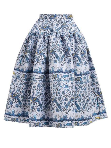 Marques'almeida - Peacock Jacquard Midi Skirt - Womens - Blue Multi
